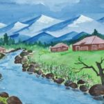 Riverscape - A landscape of a river flowing in a countryside painted by Akanksha