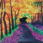 Autumn Alley painted using Acrylic Colours