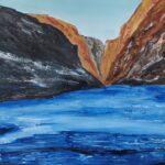 Frozen Zanskar River painted using Acrylic Colours