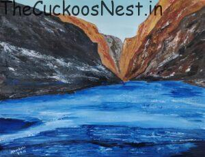 Frozen Zanskar River painted using Acrylic Colours