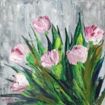 Terrific Tulips painted using Acrylic Colours