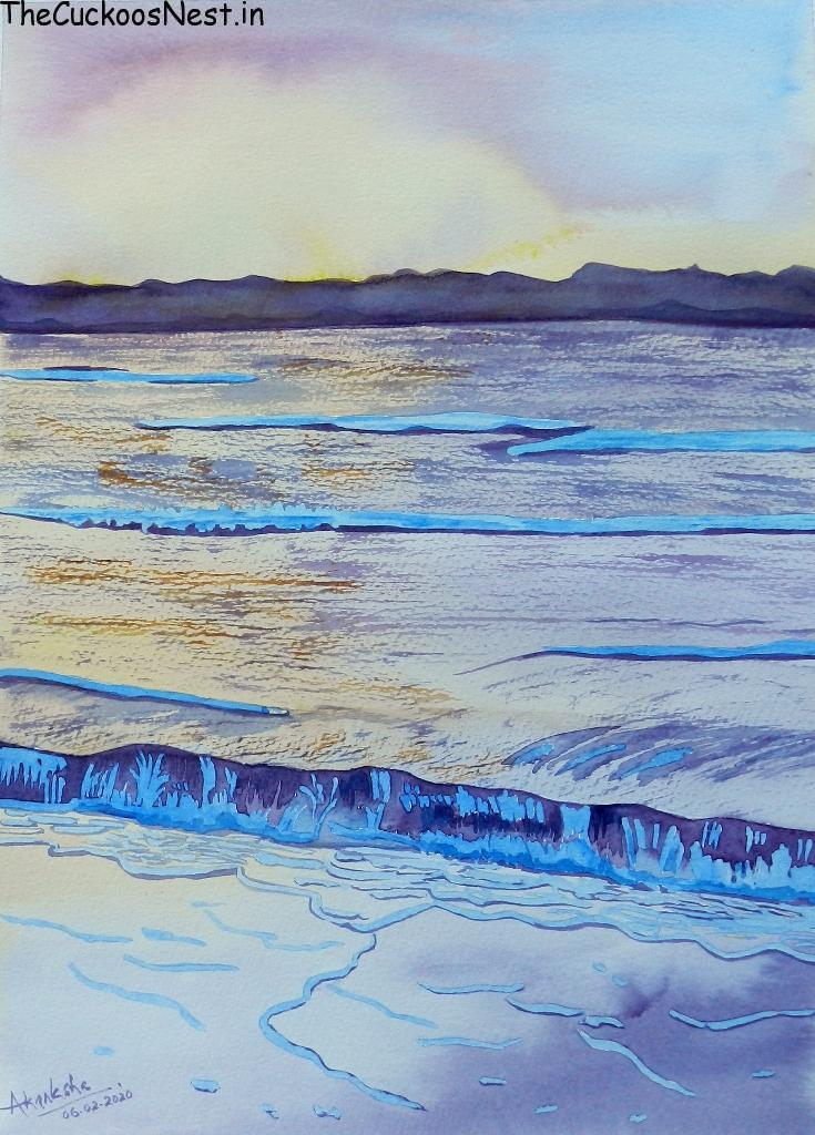 Sunny Shore painted using Water Colours